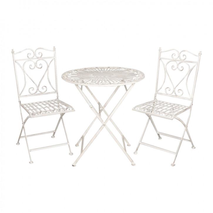 Gartentisch mit zwei Stühlen weiß ca. Ø 70 x 75 cm / 40 x 47 x 94 cm