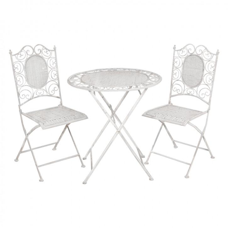 Gartentisch mit zwei Stühlen gräulich ca. Ø 70 x 75 cm / 41 x 48 x 95 cm