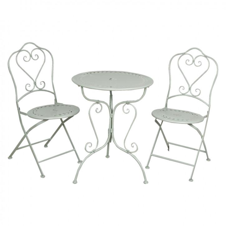 Gartentisch mit zwei Stühlen grünlich ca. Ø 62 x 73 cm / 48 x 40 x 93 cm