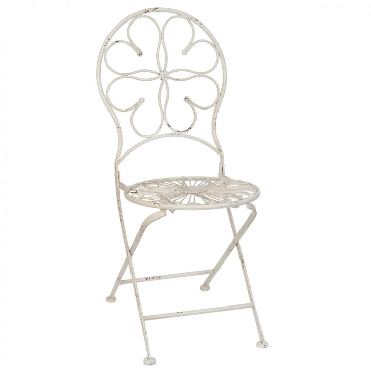 Stuhl Gartenstuhl Eisenstuhl weiß ca. 40 x 38 x 92 cm