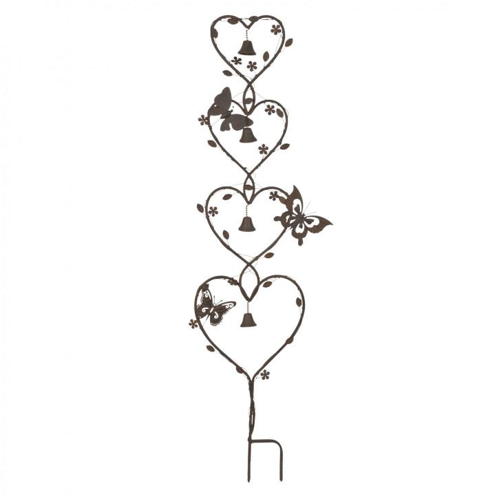 Gartenspitze Herzen Schmetterling braun ca. 35 x 5 x 135 cm