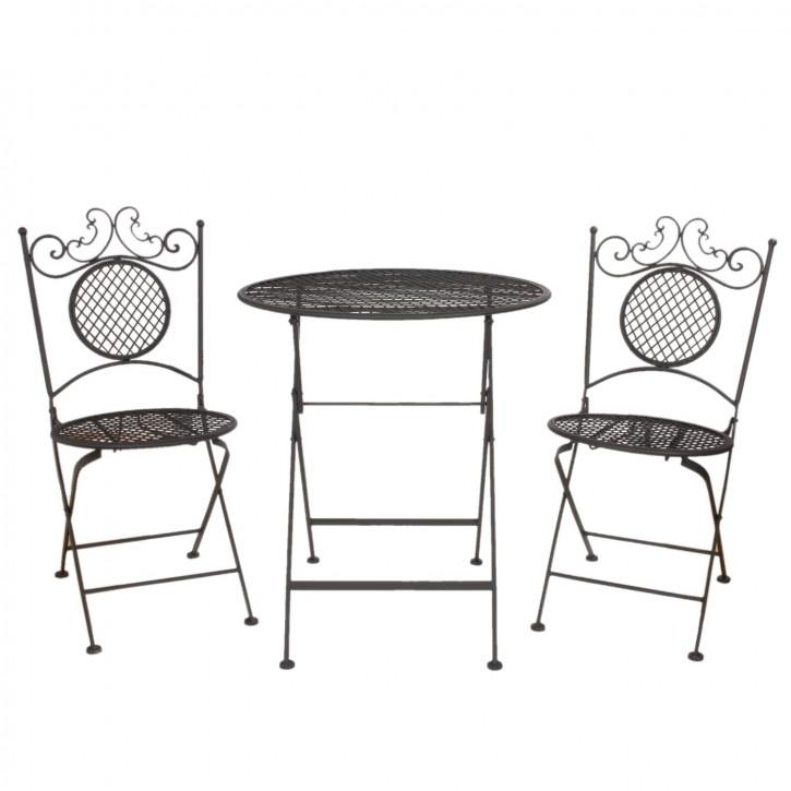 Table + 2x Chair Ø 66x74 / 40x40x88 cm