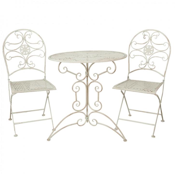 Table + 2x Chair Ø 70x74/40x45x95 cm