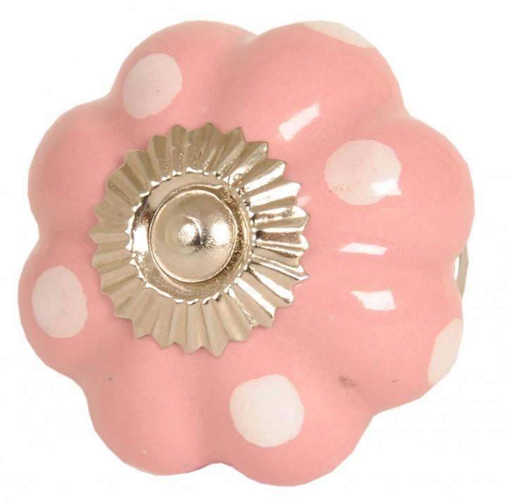 Kommodenknopf rosa / weiße Punkte Ø 4 cm