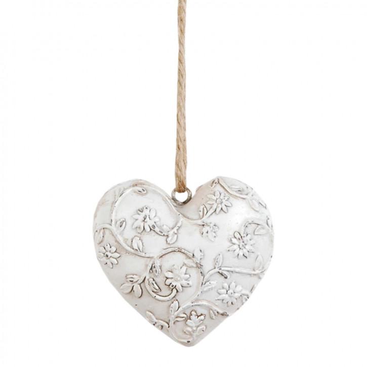 Deko Herz mit Blumenranke 7.5*7*2cm