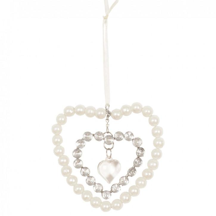 Deko Herz mit Perlen 10*10cm