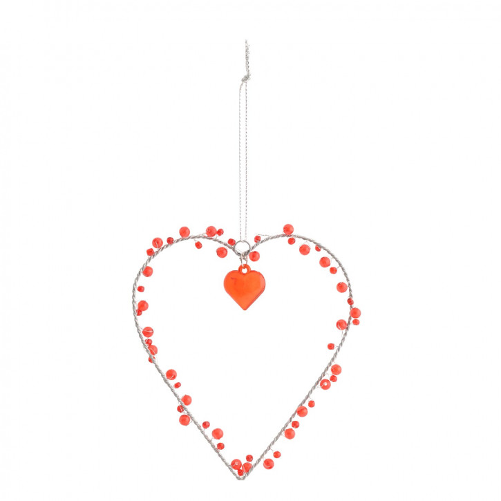 Deko Herz mit orangen Perlen 13*12cm