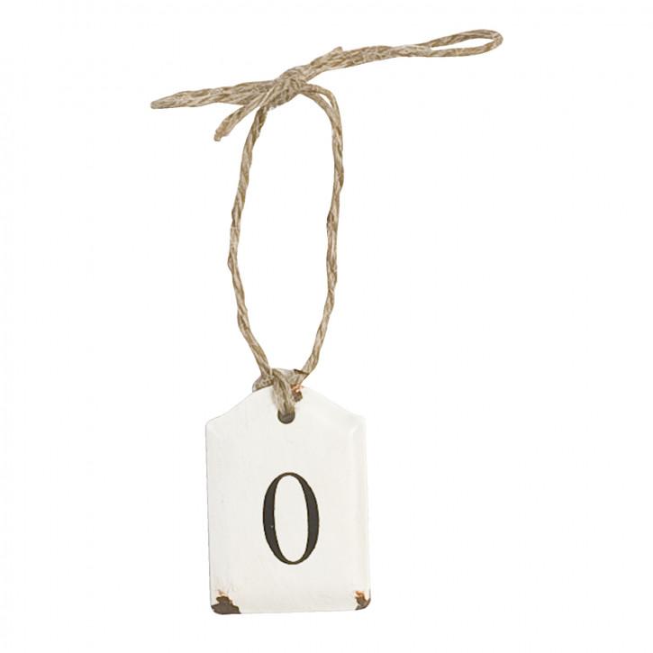 Etikett mit der Zahl 0 zum Aufhängen, in weiß