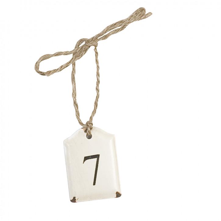 Etikett mit der Zahl 7 zum Aufhängen, in weiß