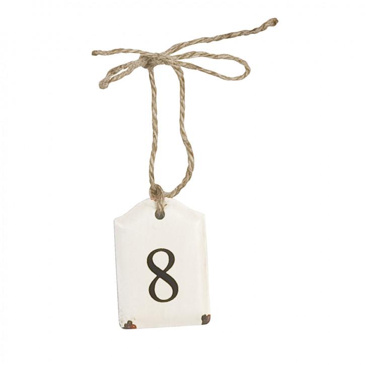 Etikett mit der Zahl 8 zum Aufhängen, in weiß