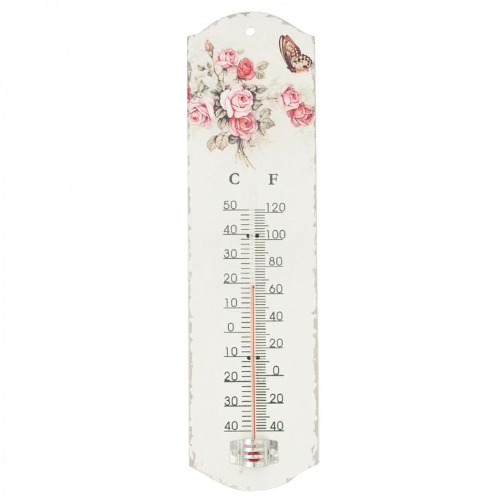 Thermometer mit Blumenmuster, weiß