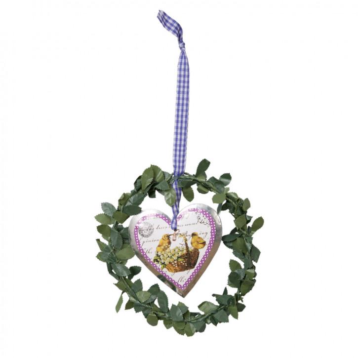 Ostern Kranz Schild Herz Anhänger Küken Korb ca. Ø 14 cm