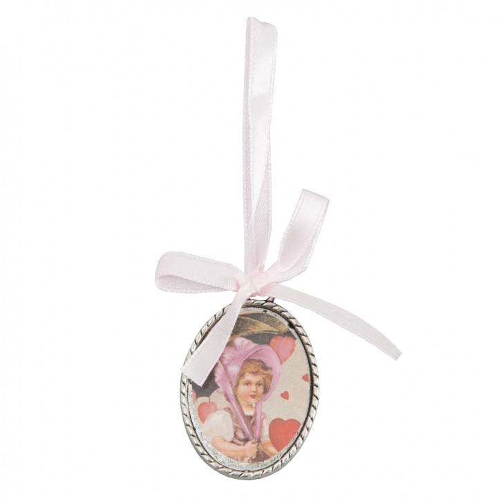 Medallion mit weißer Schleife und Mädchenmotiv, oval