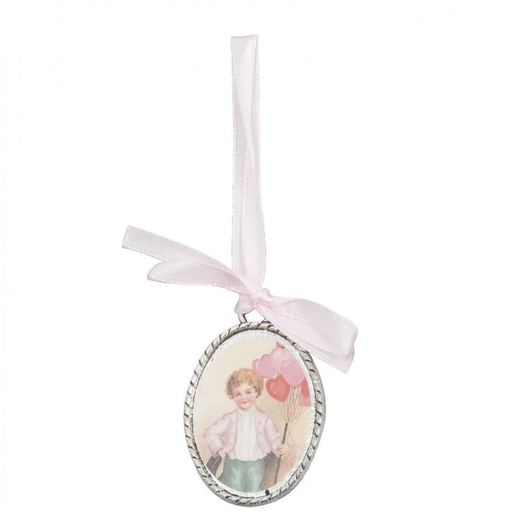 Medallion mit weißer Schleife und Jungenmotiv, oval