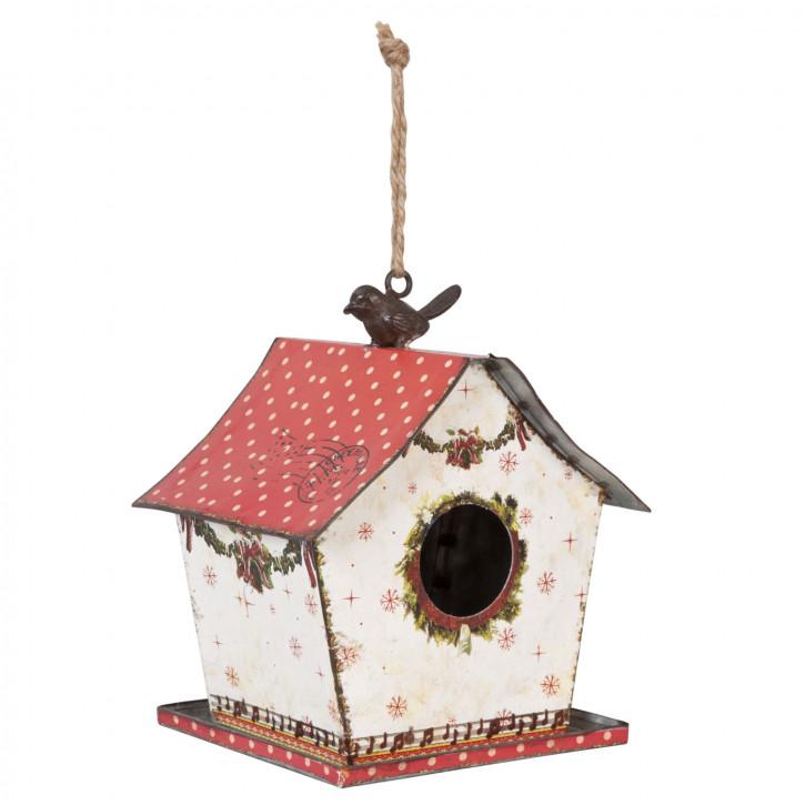 Vogelhaus Weiß Dach Rot mit weißen Punkten zum Aufhängen ca. 18 x 15 x 20 cm