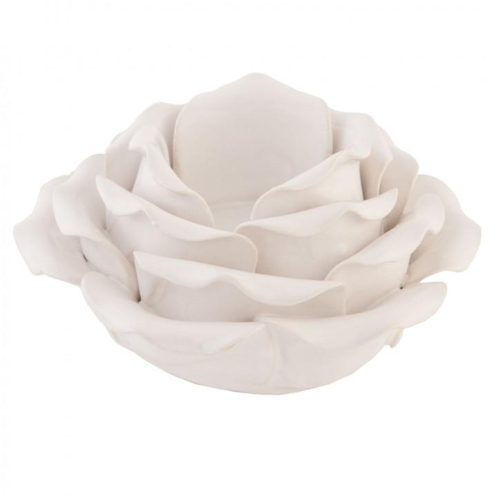 """Teelichthalter Rose """"weiß"""" Ø11cm"""