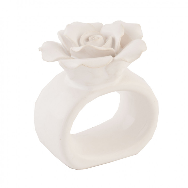 Serviettenring Rose Weiß 6er Set ca. 6 cm