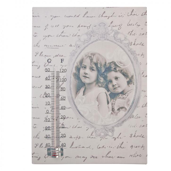Wandschild mit Thermometer \'2 Mädchen\' ca. 19 x 26 cm