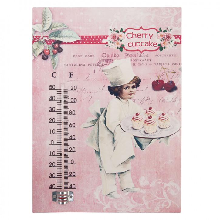 Wandschild mit Thermometer \'Cherry Cupcake\' ca. 19 x 26 cm