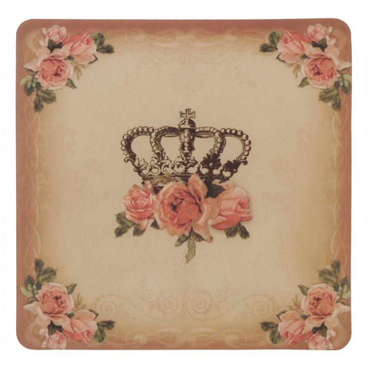 Untersetzer Krone Blumen 6er Set ca. 10 x 10 cm
