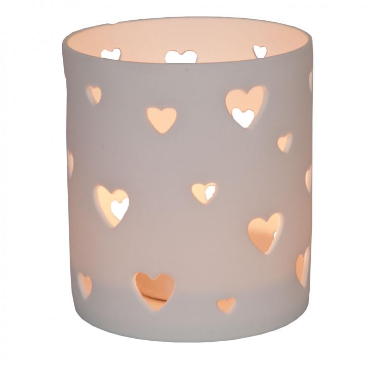 Teelichthalter Windlicht Herzen Weiß ca. Ø 8 x 9 cm