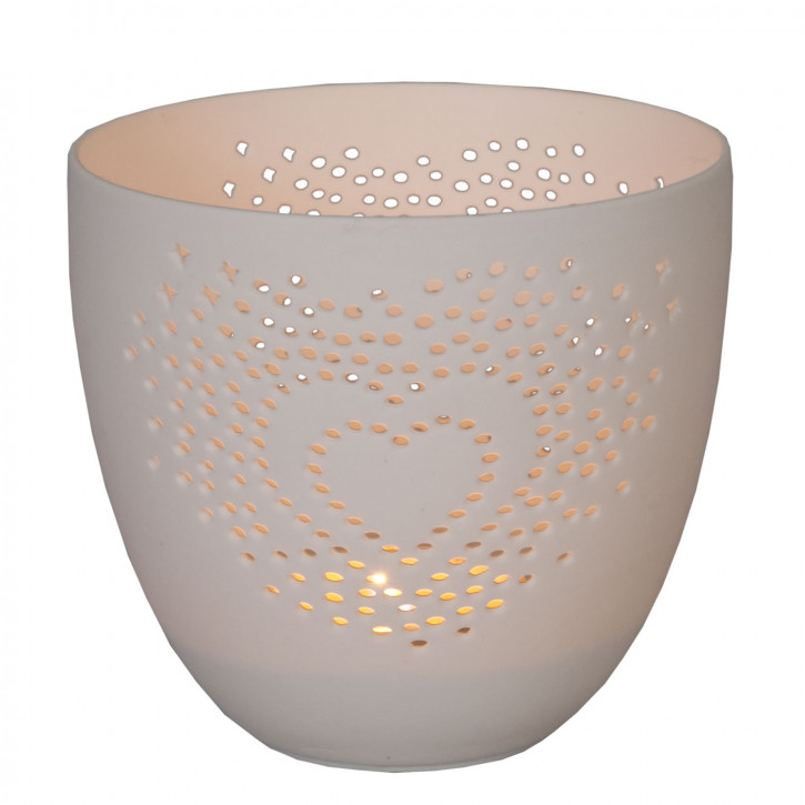 Teelichthalter Windlicht Weiß ca. Ø 9 x 8 cm