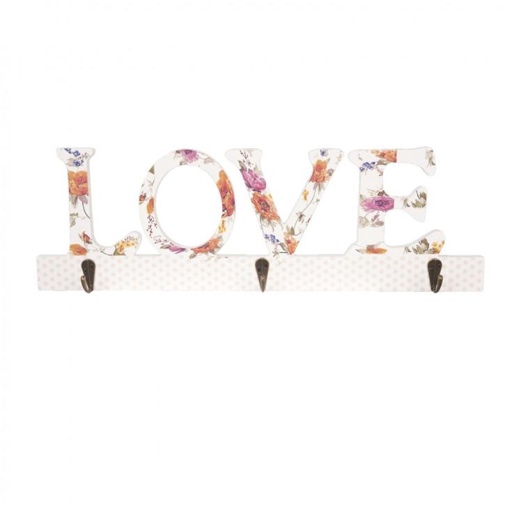 Hakenleiste LOVE mit 3 Haken ca. 45 x 14 cm