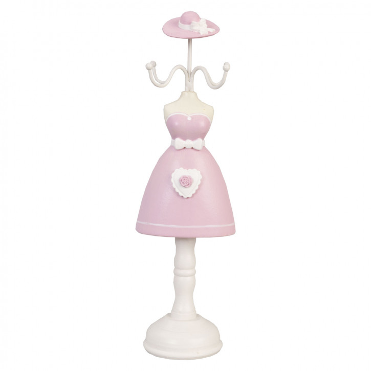 Schmuckständer Kleid Hut rosa ca. 10 x 32 cm