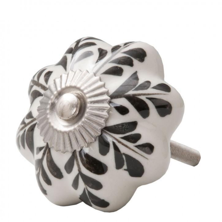Türknopf Möbelknopf schwarz/weiß ca. 4,5 cm