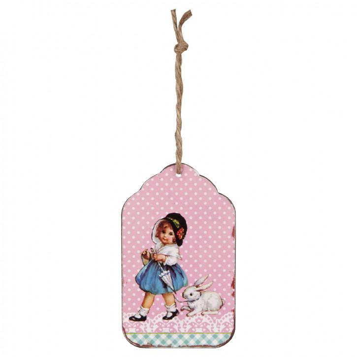 Schild Anhänger Geschenkanhänger Mädchen Hase ca. 6 x 10 cm