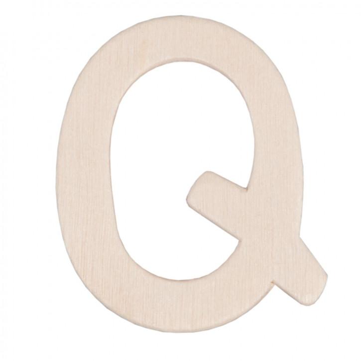 Holzbuchstabe 3er Set Q ca. 4 cm