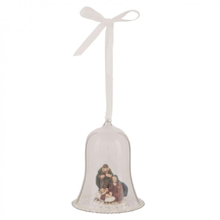 Anhänger Glocke Maria und Josef transparent ca. Ø 10 x 12 cm