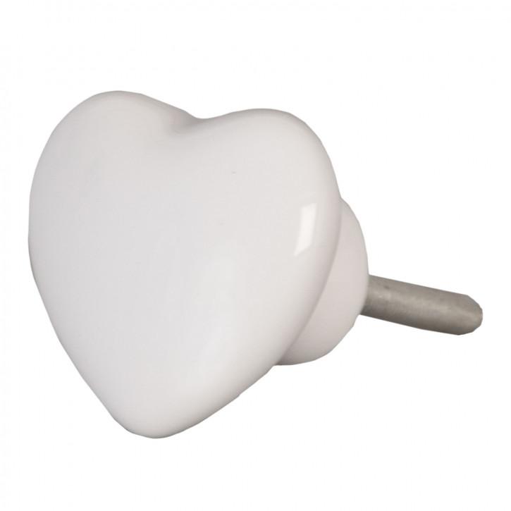Türknopf Möbelknopf Herz weiß ca. 3,8 x 3,8 cm