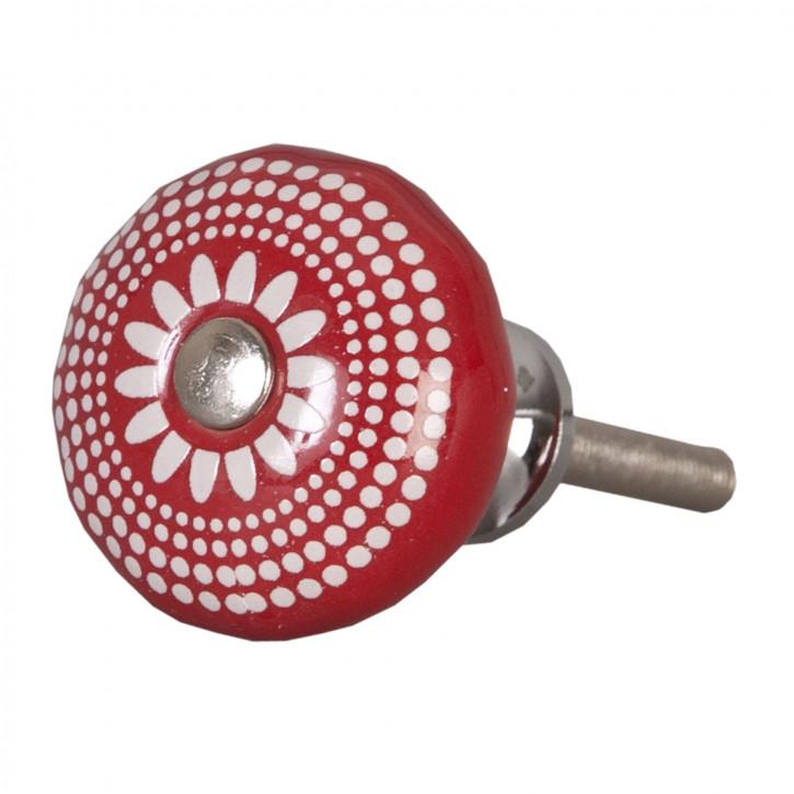 Türknopf Möbelknopf rot/weiß ca. Ø 3 cm