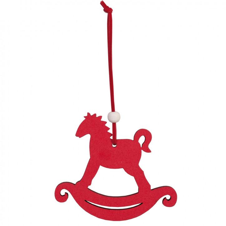 Schaukelpferd zum Aufhängen rot ca. 10 x 8 cm