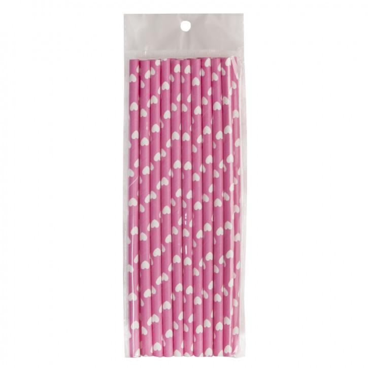 Strohhalme Trinkhalme rosa mit Herzen (20 Stück) ca. 19 cm