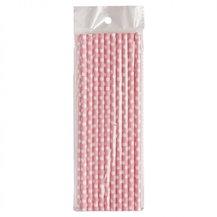 Clayre&Eef Trinkhalme * Rosa mit weißen Punkten *