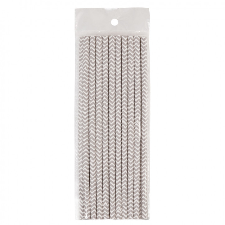 Strohhalme Trinkhalme grau gezackt (20 Stück) ca. 19 cm