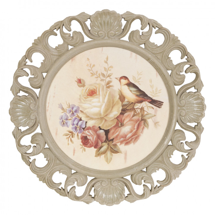 Bild Teller Vogel Blumen ca. 48 x 48 x 2 cm