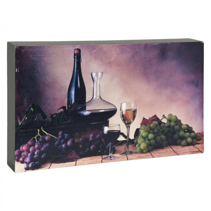 Deko Dekoration Bild Weinflasche Weinglas Weintrauben ca. 25 x 4 x 15 cm