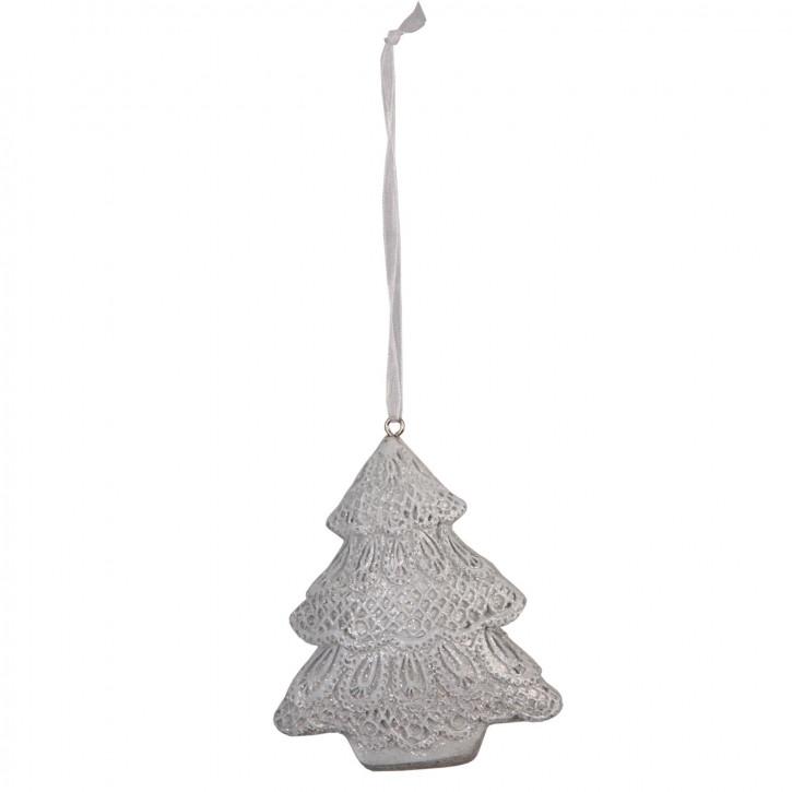 Tannenbaum Anhänger Weihnachten silberfarbig ca. 8 x 2 x 10 cm