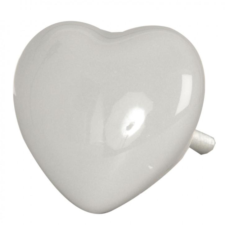 Türknopf Möbelknopf Herz grau ca. 3,8 x 3,8 cm