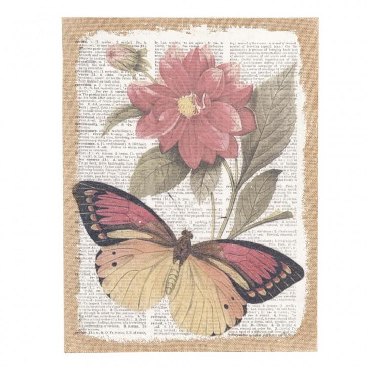 Bild Schmetterling Blume ca. 32 x 41 x 1 cm