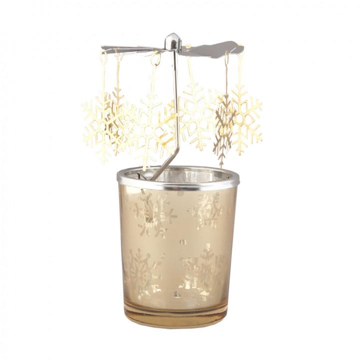 Teelichthalter Kerzenmobile Kerzen-Karussell Engelspiel Eissterne goldfarbig ca. Ø 7 x 14 cm