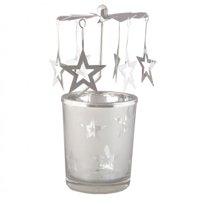 Teelichthalter Kerzenmobile Kerzen-Karussell Engelspiel Stern Sterne silberfarbig ca. Ø 7 x 14 cm