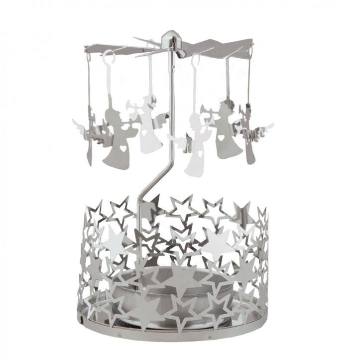 Teelichthalter Kerzenmobile Kerzen-Karussell Engelspiel Engel silberfarbig ca. Ø 8 x 12 cm