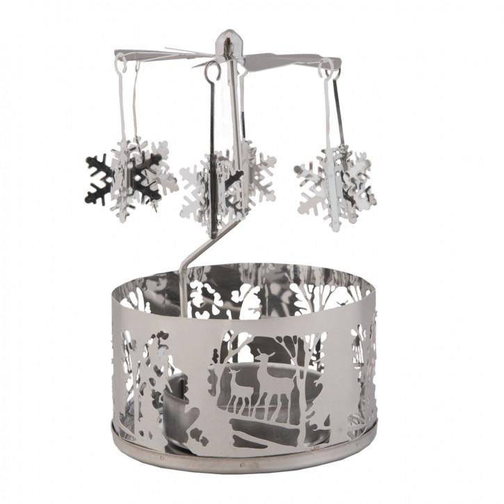 Teelichthalter Kerzenmobile Kerzen-Karussell Engelspiel Eissterne silberfarbig ca. Ø 8 x 12 cm