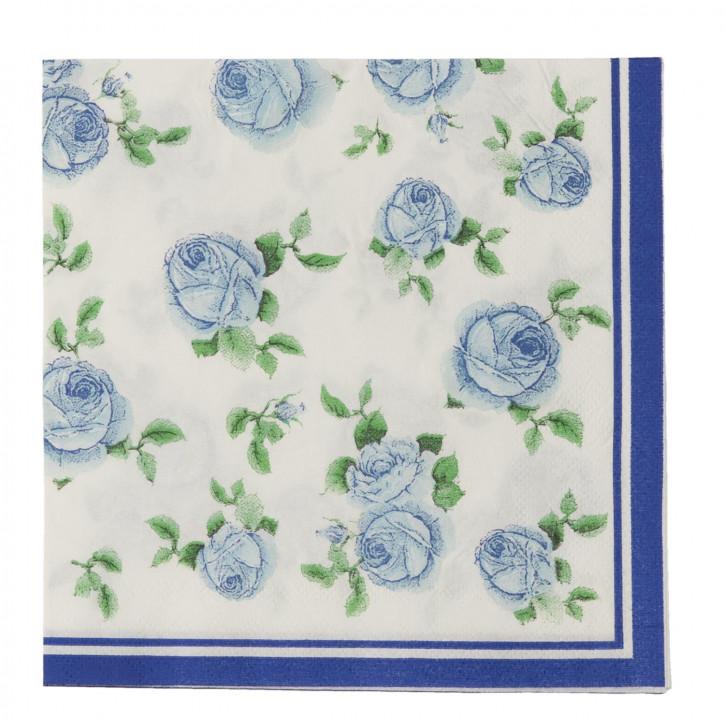 Papierservietten (20 Stück) Blumen blau ca. 16 x 16 cm