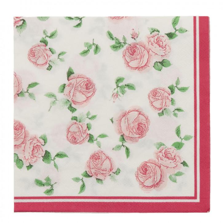 Papierservietten (20 Stück) Blumen rosa ca. 16 x 16 cm
