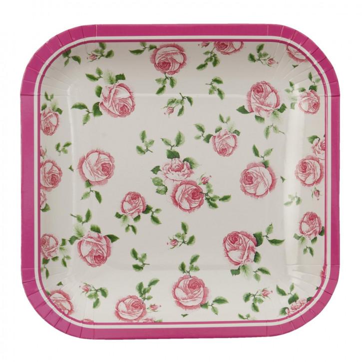 Einwegteller (10 Stück) Blumen rosa ca. 15 x 15 cm